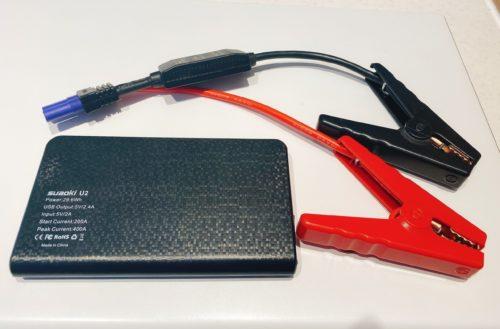 モバイルバッテリーとジャンプスタータークランプ